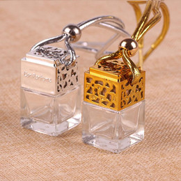 scent bottle pendant UK - 2020 6ML Car Perfume Empty Bottle Pendant Essential Oil Aromatherapy Perfume Square Air Freshener Sling Rope Pendant Diffusion Bottle