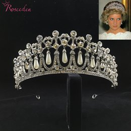 Diana jewelry online shopping - Classic Princess Diana Crown Crystal Pearl Bridal Wedding Tiara Crowns Hair Accessories Jewelry Re3049 T190620