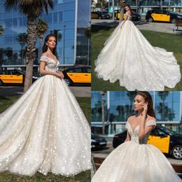$enCountryForm.capitalKeyWord Australia - Crystal Design 2020 Wedding Dresses Sheer Off The Shoulder Boho Lace Appliqued Beads Bridal Gowns Country Style Garden Wedding Dress