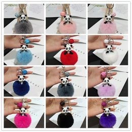 $enCountryForm.capitalKeyWord Australia - Fashion jewelry autumn and winter models Panda hair ball key ring bells pendant resin panda handbags ornaments car pendants