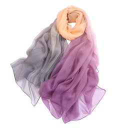 Girls Fashion Scarves UK - Feitong New Fashion Scarves For Lady Women Gradient Color Long Soft Bandana Wrap Scarf Simulation Silk Shawl Poncho Stoles Girls