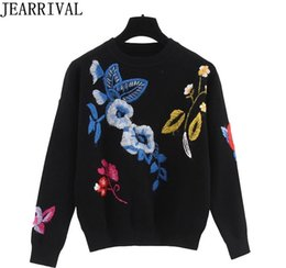 computer embroidery designs Australia - New Design Floral Embroidery Sweater 2018 Autumn Winter Fashion Women Long Sleeve O-Neck Oversized Pullovers Knitted Jumpers