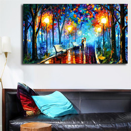 park paintings NZ - Couple In Park Wall Art Canvas Posters Prints Landscape Oil Painting Wall Pictures For Living Room Modern Decor Home Pop Artwork