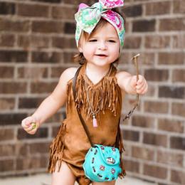 $enCountryForm.capitalKeyWord Australia - Baby Boys Girls clothes Warm Infant sleeveless brown Jumpsuit macrame Bodysuit Cotton Kids casual Tops