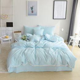Bedsheet Cotton White Australia - 100% Cotton white ball korean style Bedding set 4 3Pcs king queen twin size kids girls cute bedsheet set duvet cover pillowcase