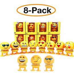 dolls wholesalers NZ - Shaking Head Toys Car Ornaments Bobblehead Nod Dolls Cute Cartoon Funny Emoji Wobble Head Robot Lovely Car Dashboard Decor Auto of 8pack