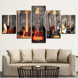 music bass guitar NZ - Canvas Paintings Modular Wall Art Prints 5 Pieces Bass Guitar Collage Pictures Music Poster For Living Room Home Decor No Frame