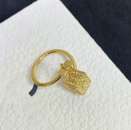 $enCountryForm.capitalKeyWord Australia - 2019 new designer Lucky Dice jewelry gold colour ring Square star Crystal opening ring women jewelry