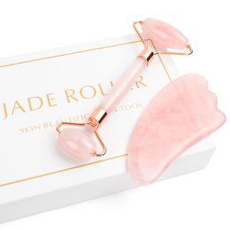 Rolo de Jade para o Rosto, 2 em 1 Conjunto Massageador Rolo de Jade Incluindo Rose Quartz e Gua Sha Raspagem Ferramenta, Jade Facial Anti Envelhecimento rosto em Promoção