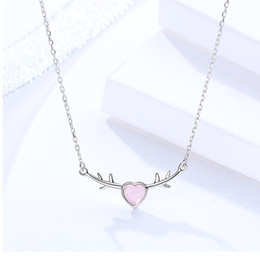 $enCountryForm.capitalKeyWord NZ - pink heart glass necklaces s925 silver jewelery love pendants for woman lover gifts short thin chains white gold plated wholesales price 6pc