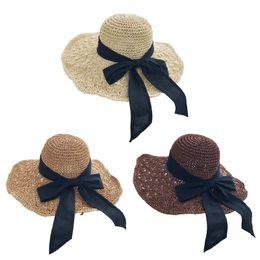 $enCountryForm.capitalKeyWord Australia - Women Handmade Hollow Out Crochet Beach Straw Sun Hat Metal Wire Wavy Wide Brim Long Ribbon Bowknot Sunscreen Holiday Bucket Cap