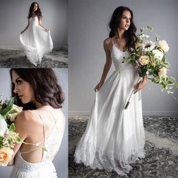 $enCountryForm.capitalKeyWord Australia - Romantic A Line Wedding Dresses Sexy Open Back Bohemian Beach Boho Bridal Gowns Cheap Lace Chiffon Country Rustic Wedding Dress Plus Size