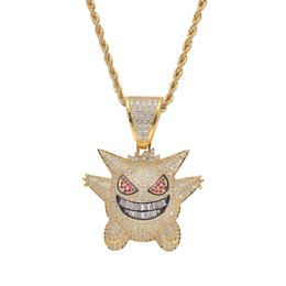 $enCountryForm.capitalKeyWord UK - Bling Bling Iced Out Hip Hop Jewelry Cartoon Pendant Cubic Zircon Copper Necklace Iced Out Men Gift CN055