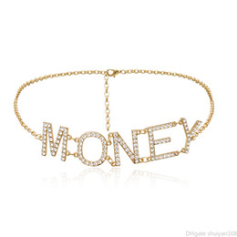 Vintage Multilayer Body Chain Women Statement Retro Belly Waist Chains Dress Party Accessories Crystal Rhinestone MONEY Letter Belt Jewelry on Sale