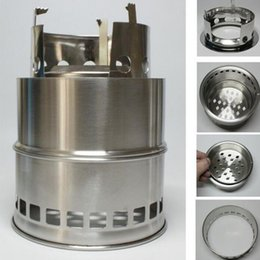 Wood camp stove online shopping - Camping Equipment Outdoor Stainless Steel Portable Stove Cooking Picnic Cookware Hiking Camping Travel Stove Wood Stove