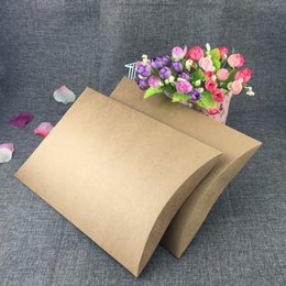 dry box cases NZ - 30Pcs Lot Big Size Pillow Box Brown Kraft Paper Festival Party Supplies Gift Box Dry Flower Handbook Packaging Case Pillow Boxes