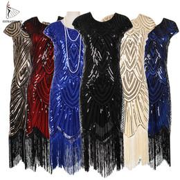 $enCountryForm.capitalKeyWord UK - Womens 1920s Vintage Flapper Great Gatsby Party Dress V-neck Sleeve Sequin Fringe Midi Dresses Accessories Art Deco Embellished J190619