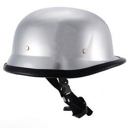 $enCountryForm.capitalKeyWord Australia - 1PC Motorcycle DOT German Style Chrome Helmet Half Face Vintage Retro Helmets With Stainless Steel Dual D-ring Size M L XL