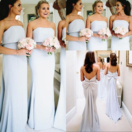 StrapleSS big wedding dreSSeS online shopping - 2020 Strapless Neck Satin Mermaid Long Bridesmaid Dresses Sleeveless Backless Ruched Big Bow Sash Wedding Guest Party Maid Of Honor Dresses