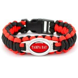 $enCountryForm.capitalKeyWord Australia - Trendy Women Men Black Red Umbrella Rope Leather Bracelets Glass Cabochon Tampa Bay Football Team Outdoor Camping Survival Paracord Jewelry