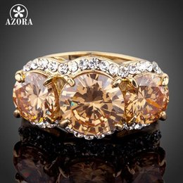 $enCountryForm.capitalKeyWord Australia - Wholesale- AZORA Sparkling Gold Color 3pcs Gold Colour Stellux Austrian Crystal Ring TR0081