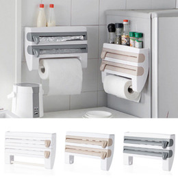 Kitchen Roll Dispenser Cling Film Tin Foil Towel Holder Rack Wall Mounted New Refrigerator Wall Holder on Sale