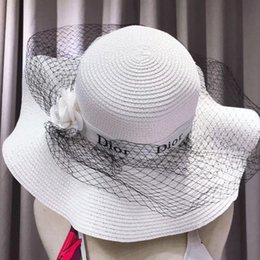 shades christmas Australia - Popular versatile straw hat Camellia straw hat Korean version sun shading sun block sun beach hat ladies round face versatile