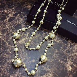 Simple model necklace online shopping - Women s new pearls Double layer long chain Sweater texture is superb ladies and beautiful models simple and generous