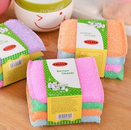 $enCountryForm.capitalKeyWord Australia - Kitchen nonstick oil scouring pad oil cleaning cloth washing cloth to wash cloth towel brush bowl sponge 4 pcs