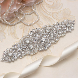 MissRDress Handmade Wedding Sashes Belt Silver Rhinestones Ribbons Bridal Belt And Sash For Wedding Dress YS849