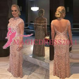 $enCountryForm.capitalKeyWord Canada - Lace Vintage High Neck Long Party Formal Dresses Mother of the Brides Dresses Beaded Floor Length Evening Gowns Short Sleeves Sheath Party