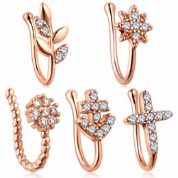 $enCountryForm.capitalKeyWord NZ - Crystal No-piercing Nose Clip Shellhard Silver Rose Gold Leaf Star Flower Nose Ring For Women Men Piercing Body Jewelry