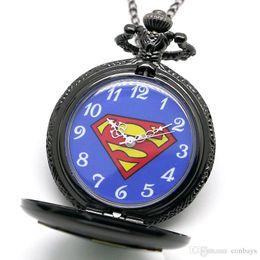 $enCountryForm.capitalKeyWord Canada - Cool Black Superman Fob Quartz Pocket Watch Unique Blue Design Dial Necklace Chain Pendant Clock Gifts for Boys Children Watches Present