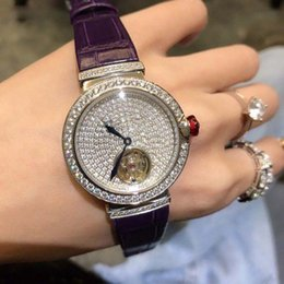 $enCountryForm.capitalKeyWord Australia - new Simple luxury lady round diamond dial watch full automatic movement imported leather watchband size 33mm