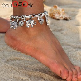 tin boxes wholesale NZ - Vintage Gold Silver Anklets For Women Elephant Pendant Charms Box Chain Beach Summer Foot Ankle Bracelet Wholesale Jewelry