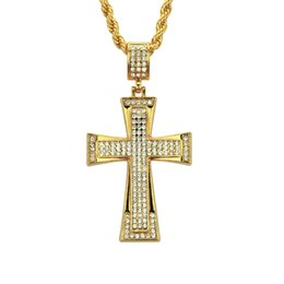 $enCountryForm.capitalKeyWord UK - Gold Hip hop pendant necklace High quality Hip hop rap cross necklace Crystal rhinestone Eco-friendly material jewelry factory wholesale