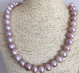 baroque gold south sea pearls UK - Wholesale single strand 11-12mm baroque south sea lavender pearl necklace 18inch 14k gold clasp