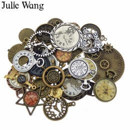 $enCountryForm.capitalKeyWord NZ - Julie Wang 10pcs Random Mixed Clock Watch Face Charms Alloy Necklace Pendant Finding Jewelry Making Steampunk Accessory