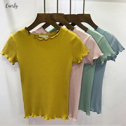 ribbed t shirts Australia - Women Shirts Top Ruffled Trimmings Ribbed Crop Tops Soft V Neck And Stretchy Short Sleeve T Basic Cropped Tees