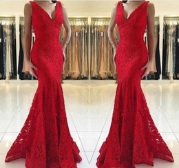 holiday evening gowns floor length Australia - Cheap Lace Mermaid Evening Dress 2019 African V Neck Red Carpet Holiday Women Wear Formal Party Prom Gown Custom Made Plus Size