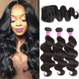 Body Wave Bundles with Lace Frontal Closure Brazilian Virgin Human Hair Bundles with Closures Peruvian Straight Deep Water Wave Kinky Curly