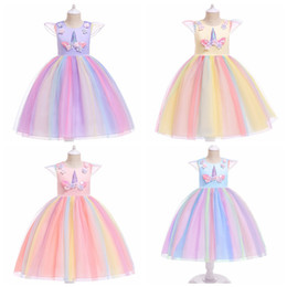 rainbow tutu wholesale Australia - Children's Princess Dress Unicorn Christmas skirts for girls rainbow color baby girl mesh tutu dresses halloween christmas cosplay costume