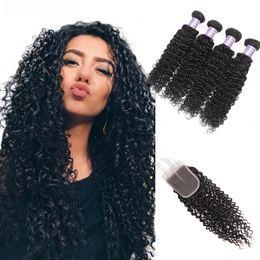 curly brazilian virgin hair wefts 2019 - Kinky Curly 4PCS with Lace Closure Peruvian Virgin Hair Wefts Body Wave Brazilian Hair Indian Hair Extensions Loose Deep