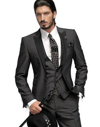 Chinese  High Quality Charcoal Grey Groom Tuxedos One Button Peak Lapel Groomsmen Men Wedding Suits Bridegroom (Jacket+Pants+Tie+Vest) H888 manufacturers