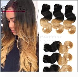 dip dye ombre hair weave extensions NZ - Greatremy? Ombre Hair Peruvian Human Hair Extension Body Wave Ombre Dip Dye Two Tone #1B #27 Hair Weave Weft 8A 3pcs lot drop Shipping