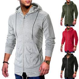 $enCountryForm.capitalKeyWord NZ - Men's Solid Extend Hoodie Long Sleeve Sweatshirt Winter Brand Zipper Jacket Hip Hop Streetwear Hoody Men Tracksuit Clohtes Hood
