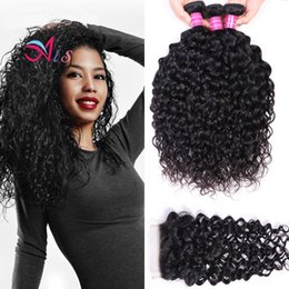 Discount human hair mixed bundles - Ais Hair Brazilian Virgin Human Hair Weaves Extensions Water Wave Natual 1B Color 3 Bundles With Closure 4*4 Unprocessed