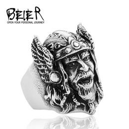 $enCountryForm.capitalKeyWord Australia - BEIER high quality Jewelry Wholesale Titanium Steel Men's Ring Finger Ring Pirate Creative Viking Mask Ring 239