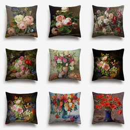 painted art chairs Australia - Flowers Vintage Style Oil Painting Cushion Covers European Retro Birds And Flower Art Cushion Cover Beige Linen Pillow Case SOfa Chair Decor