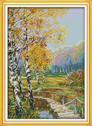 $enCountryForm.capitalKeyWord Australia - Autumnal scenery countryside home decor painting ,Handmade Cross Stitch Embroidery Needlework sets counted print on canvas DMC 14CT  11CT